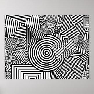 Collage geométrico de las formas (negro y blanco) póster