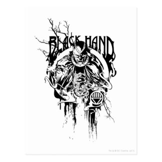 Collage gráfico de la mano negra 0, blanco y negro tarjetas postales