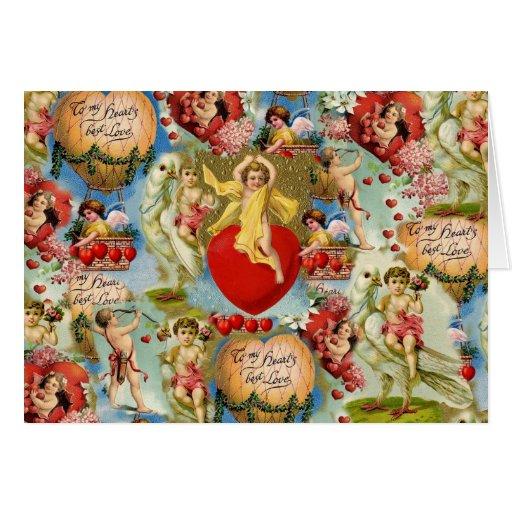 Collage hermoso de la querube del amor de la tarjeta de felicitación