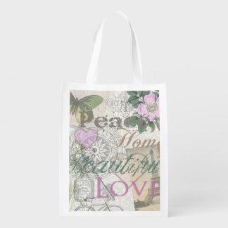 Collage hermoso del diseñador del amor del hogar d bolsa reutilizable