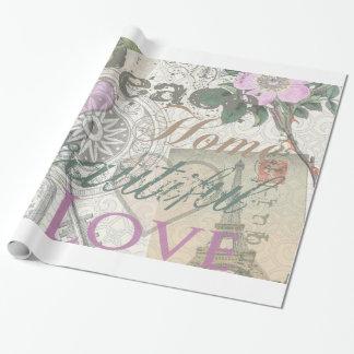 Collage hermoso del diseñador del amor del hogar papel de regalo