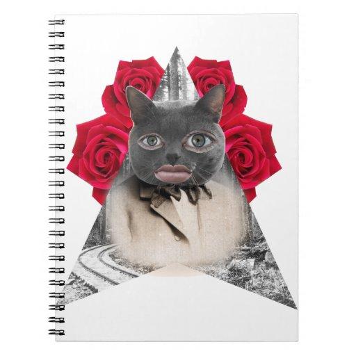 Collage humano del gato libreta