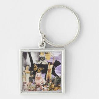 Collage lindo 4 del gato llaveros personalizados