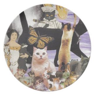 Collage lindo 4 del gato platos de comidas