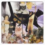 Collage lindo 4 del gato reloj