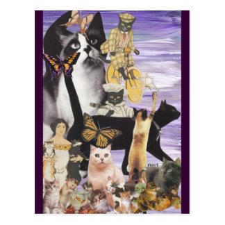 Collage lindo 4 del gato postal