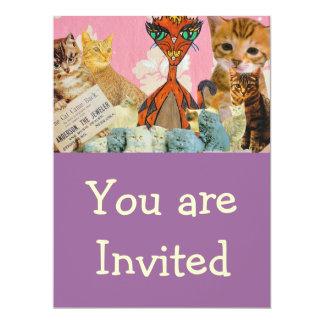 Collage lindo de los gatos 2 invitaciones invitación 16,5 x 22,2 cm