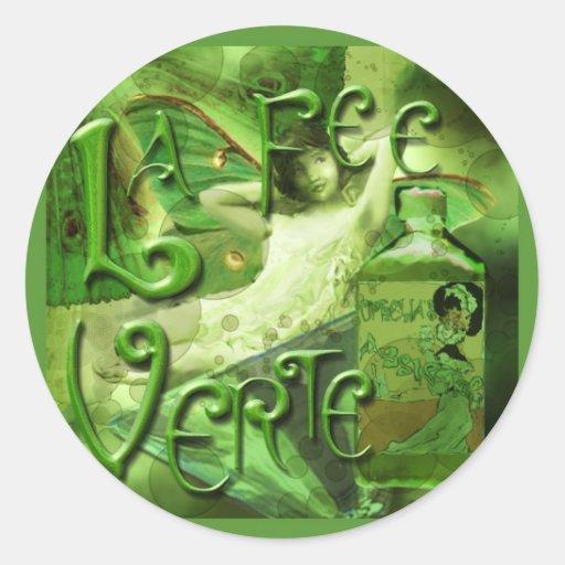 Collage líquido de hadas verde IV Pegatina Redonda