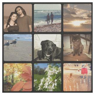 Collage medio de la imagen del mosaico de la foto telas