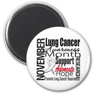 Collage - mes de la conciencia del cáncer de pulmó imán redondo 5 cm
