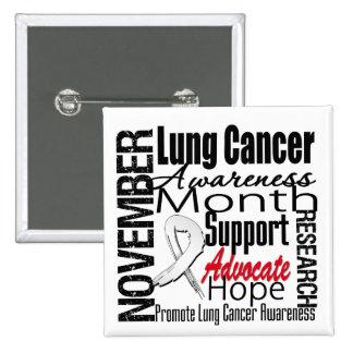 Collage - mes de la conciencia del cáncer de pulmó pin cuadrada 5 cm