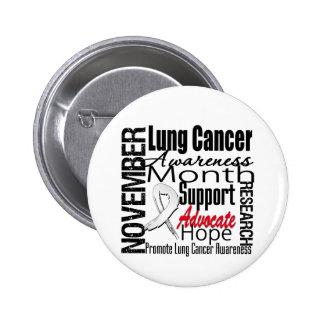 Collage - mes de la conciencia del cáncer de pulmó pin redondo 5 cm