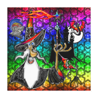 Collage místico de la estrella del arco iris del m lienzo envuelto para galerías
