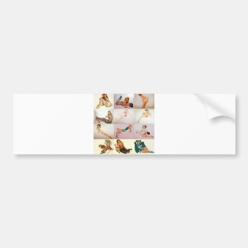 Collage modelo del vintage - 12 chicas magníficos  pegatina de parachoque