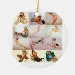 Collage modelo del vintage - 12 chicas magníficos  ornamento de reyes magos