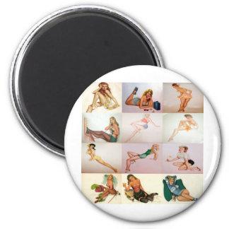 Collage modelo del vintage - 12 chicas magníficos  imanes