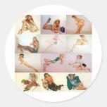 Collage modelo del vintage - 12 chicas magníficos  etiqueta redonda
