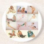 Collage modelo del vintage - 12 chicas magníficos  posavasos diseño