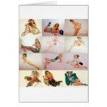 Collage modelo del vintage - 12 chicas magníficos  tarjetón