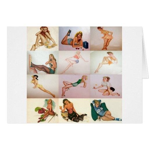 Collage modelo del vintage - 12 chicas magníficos  felicitaciones