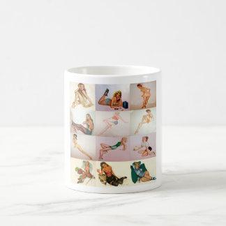 Collage modelo del vintage - 12 chicas magníficos  taza