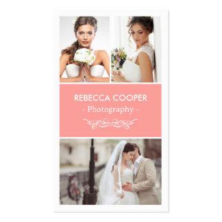 Collage moderno de la foto del boda - rosa tarjetas de visita