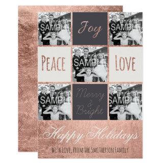 """Collage moderno de la foto del oro del rosa de invitación 5"""" x 7"""""""