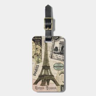 Collage moderno del viaje del francés del vintage etiqueta para equipaje