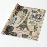 Collage moderno del viaje del francés del vintage papel de regalo