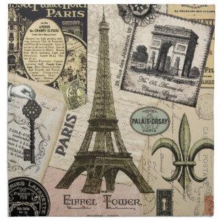 Collage moderno del viaje del francés del vintage servilletas