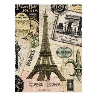 Collage moderno del viaje del francés del vintage tarjetas postales