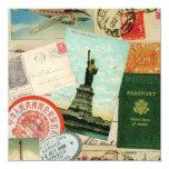 collage moderno del viaje del vintage invitaciones personalizada