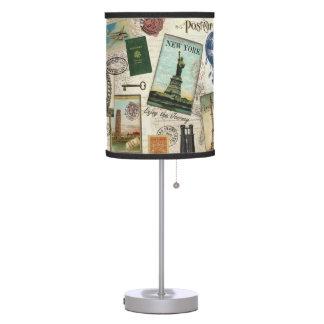 collage moderno del viaje del vintage lámpara de mesilla de noche