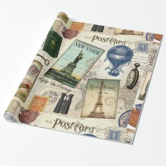 collage moderno del viaje del vintage papel de regalo