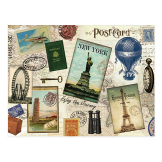 collage moderno del viaje del vintage tarjeta postal