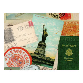 collage moderno del viaje del vintage tarjetas postales