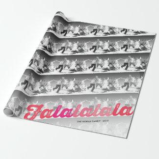 Collage moderno rosado rojo de la foto del navidad papel de regalo