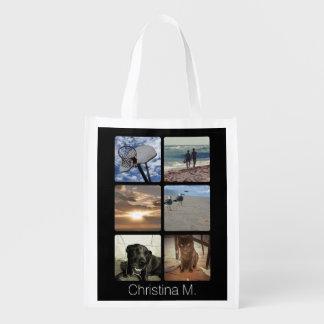 Collage multi de encargo de la imagen del mosaico bolsas reutilizables