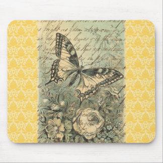 Collage natural de la mariposa del Victorian Alfombrillas De Ratón