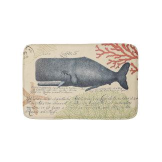Collage náutico de la ballena azul del vintage de