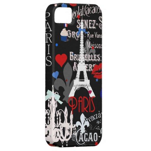 Collage negro francés moderno de París Funda Para iPhone 5 Barely There