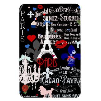 Collage negro francés moderno de París Imanes De Vinilo