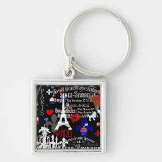 Collage negro francés moderno de París Llavero Cuadrado Plateado