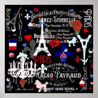Collage negro francés moderno de París Impresiones