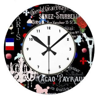 Collage negro francés moderno de París Reloj De Pared