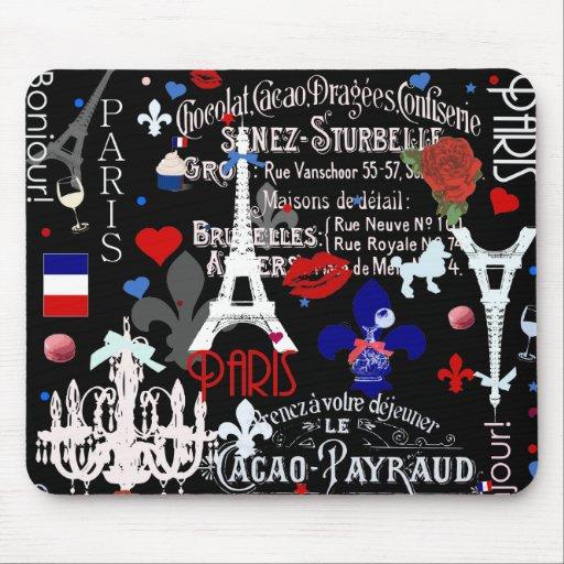 Collage negro francés moderno de París Tapete De Ratón