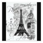 Collage negro y blanco de la torre Eiffel de París Invitación 13,3 Cm X 13,3cm