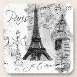 Collage negro y blanco de la torre Eiffel de París Posavasos De Bebidas
