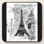 Collage negro y blanco de la torre Eiffel de París Posavasos