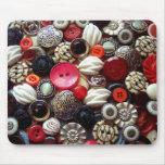 Collage negro y de plata rojo del botón alfombrillas de raton